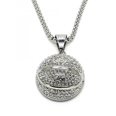 Stainless Steel Men Ball Pendant Necklace, with White Crystal, by Folks Jewelry