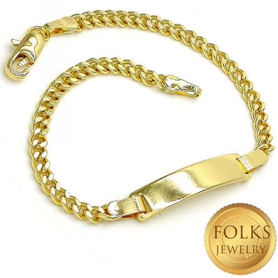Gold Layered Boys and Girls Curb ID Bracelet, by Folks Jewelry