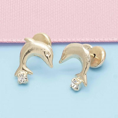 Gold Layered Girls Dolphin Stud Earring, with  Cubic Zirconia, by Folks Jewelry