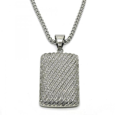 Stainless Steel Men Pendant Necklace, with White Crystal, by Folks Jewelry