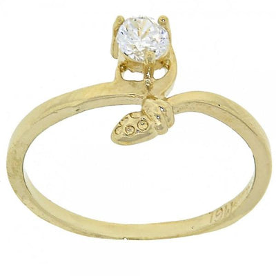 Gold Layered Women Snake Multi Stone Ring, with White Cubic Zirconia, by Folks Jewelry