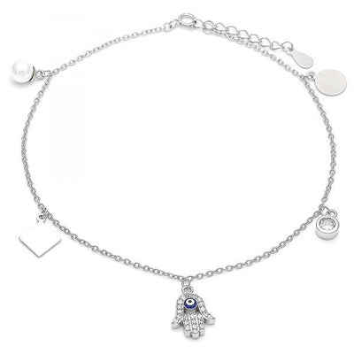 Sterling Silver Women Hand of God Charm Anklet , with White Cubic Zirconia, by Folks Jewelry