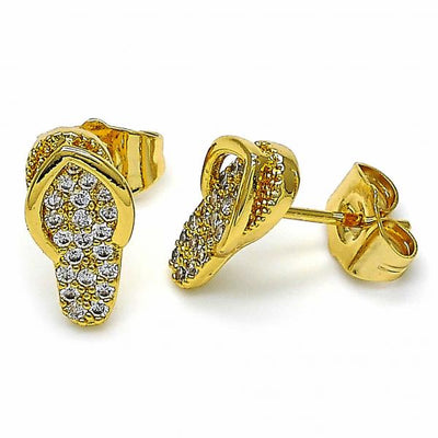 Gold Layered Women Shoes Stud Earring, with White Cubic Zirconia, by Folks Jewelry