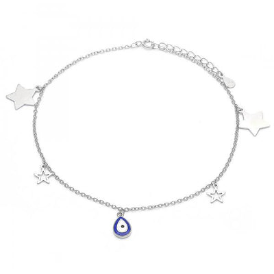 Sterling Silver Women Teardrop Charm Anklet , by Folks Jewelry