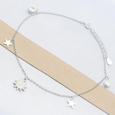 Sterling Silver Women Star Charm Anklet , with White Cubic Zirconia, by Folks Jewelry