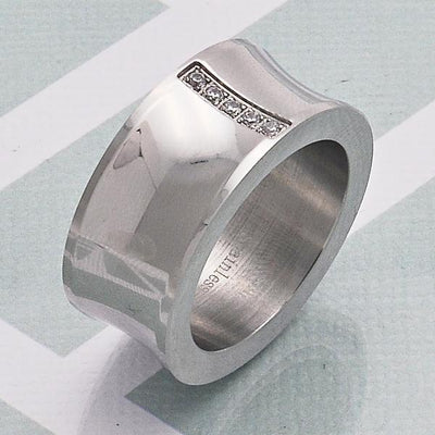 Stainless Steel Men Mens Ring, with White Cubic Zirconia, by Folks Jewelry