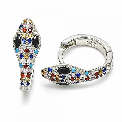 Sterling Silver Women Snake Huggie Hoop, with Multicolor Cubic Zirconia, by Folks Jewelry