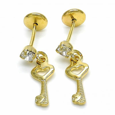 Gold Layered Girls key Stud Earring, with  Cubic Zirconia, by Folks Jewelry