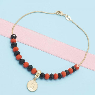Gold Layered Women Snake  Charm Anklet , with Orange Red Opal, by Folks Jewelry