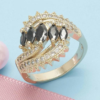 Gold Layered Women Multi Stone Ring, with Black Cubic Zirconia, by Folks Jewelry