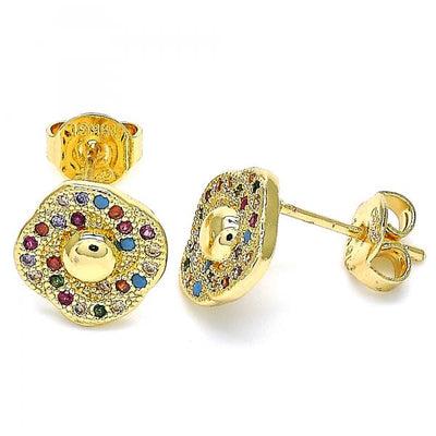 Gold Layered Boys Flower Stud Earring, with Multicolor Micro Pave, by Folks Jewelry