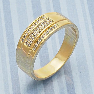 Gold Layered Men Mens Ring, with White Micro Pave, by Folks Jewelry