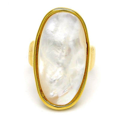 Stainless Steel Women Multi Stone Ring, with Ivory Mother of Pearl, by Folks Jewelry