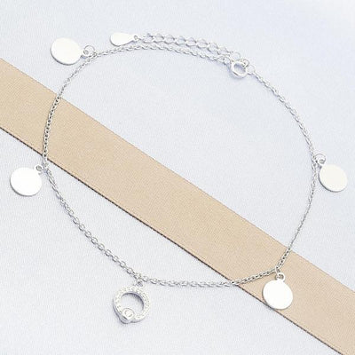 Sterling Silver Women Charm Anklet , with White Cubic Zirconia, by Folks Jewelry
