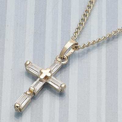 Gold Layered Women Cross Fancy Necklace, with White Cubic Zirconia, by Folks Jewelry
