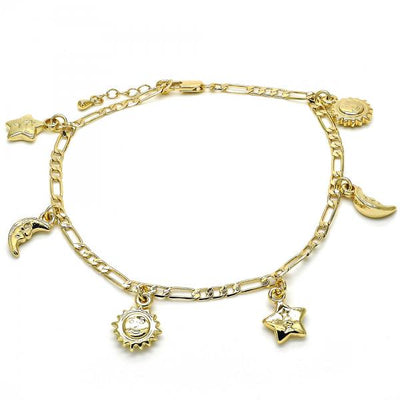 Gold Layered Women Sun Charm Anklet , by Folks Jewelry
