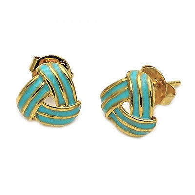 Gold Layered Girls Love Knot Stud Earring, by Folks Jewelry