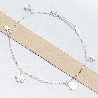Sterling Silver Women Butterfly Charm Anklet , with White Cubic Zirconia, by Folks Jewelry