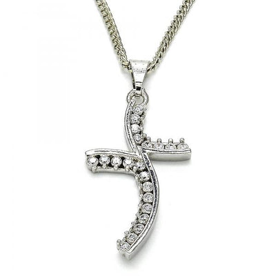 Rhodium Plated Women Pendant Necklace, with White Cubic Zirconia, by Folks Jewelry