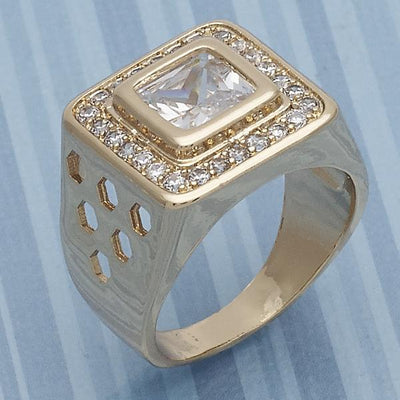 Gold Layered Men Mens Ring, with White Cubic Zirconia, by Folks Jewelry