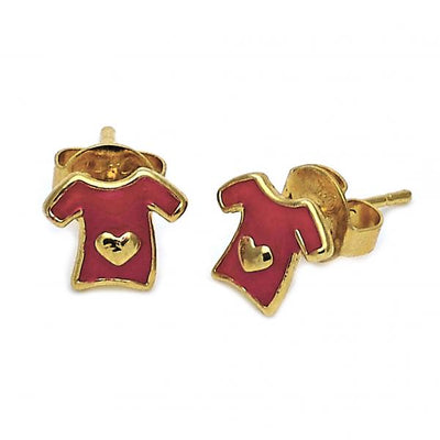 Gold Layered Girls Heart Stud Earring, by Folks Jewelry