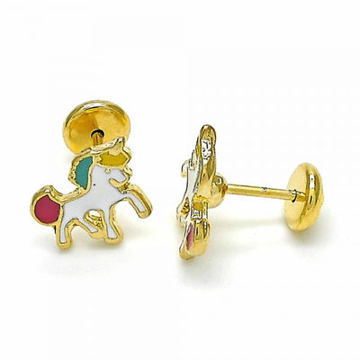 Gold Layered Girls Horse Stud Earring, by Folks Jewelry