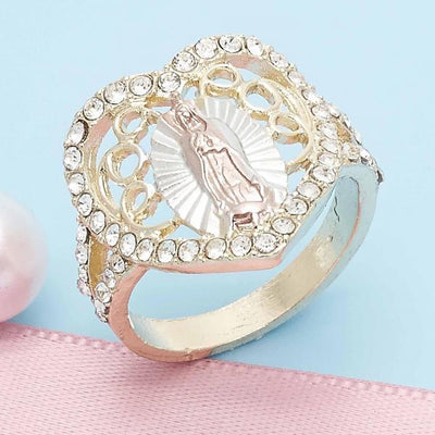 Gold Layered Women Guadalupe Multi Stone Ring, with White Crystal, by Folks Jewelry