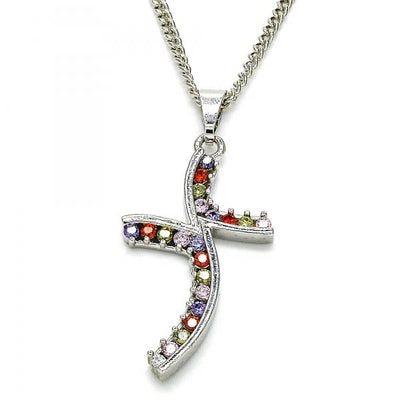 Rhodium Plated Women Pendant Necklace, with Multicolor Cubic Zirconia, by Folks Jewelry