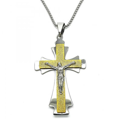 Stainless Steel Men Crucifix Pendant Necklace, by Folks Jewelry
