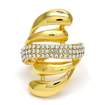 Gold Layered Women Multi Stone Ring, with White Crystal, by Folks Jewelry