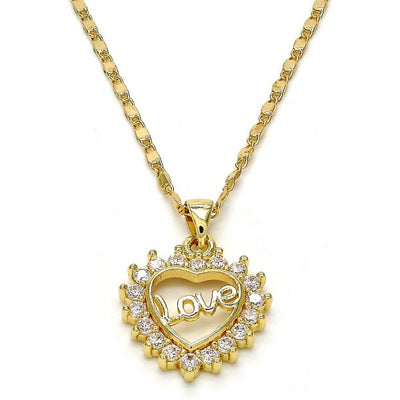 Gold Layered Women Heart Pendant Necklace, with White Micro Pave, by Folks Jewelry
