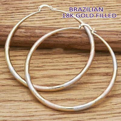 Gold Layered Women Hollow Large Hoop, by Folks Jewelry