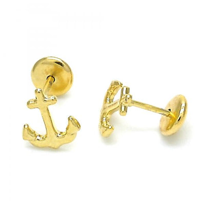 Gold Layered Boys and Girls Anchor Stud Earring, by Folks Jewelry