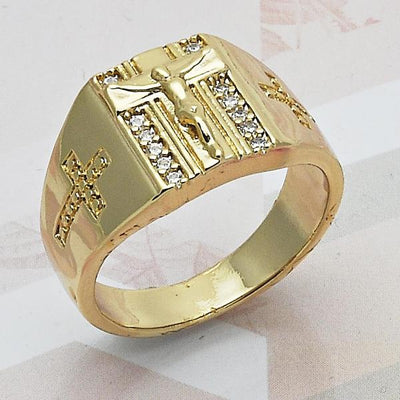 Gold Layered Men Crucifix Mens Ring, with White Cubic Zirconia, by Folks Jewelry