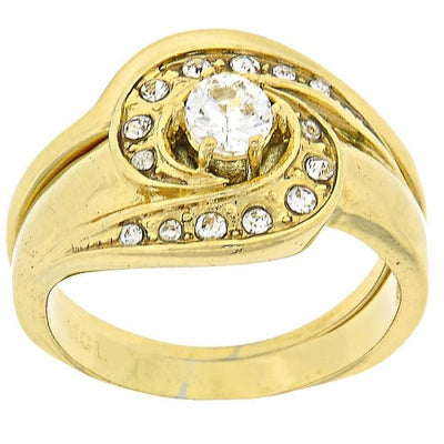 Gold Layered Women Duo Multi Stone Ring, with White Cubic Zirconia, by Folks Jewelry
