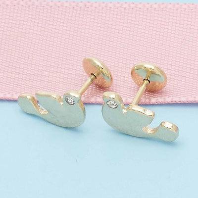Gold Layered Girls Bird Stud Earring, by Folks Jewelry
