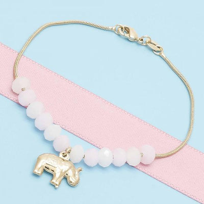 Gold Layered Women Elephant Charm Bracelet, with White Opal, by Folks Jewelry