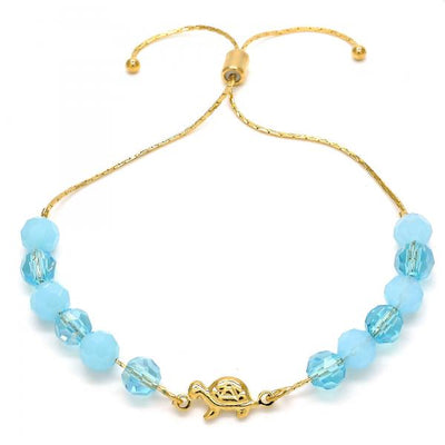 Gold Layered Women Turtle Adjustable Bolo Bracelet, with Aquamarine Crystal, by Folks Jewelry