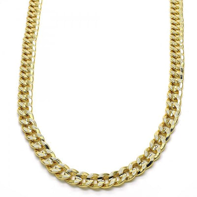 Gold Layered Men Concave Cuban Basic Necklace, by Folks Jewelry