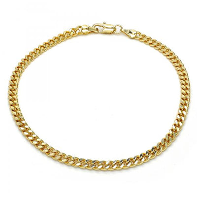 Gold Layered Women Miami Cuban Basic Anklet, by Folks Jewelry