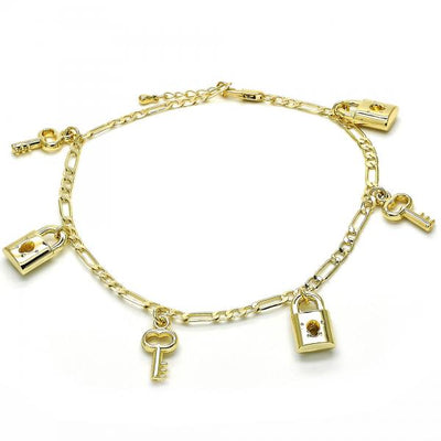 Gold Layered Women Lock Charm Anklet , by Folks Jewelry