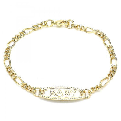 Gold Layered Boys and Girls Figaro ID Bracelet, by Folks Jewelry