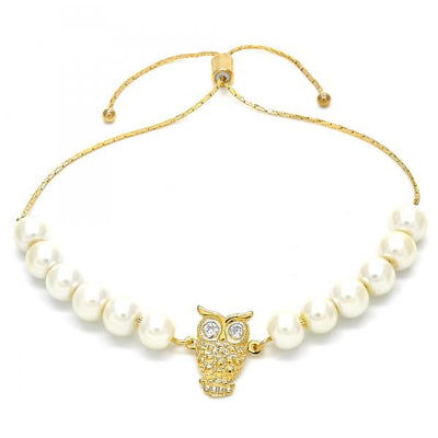 Gold Layered Women Owl Adjustable Bolo Bracelet, with White Pearl, by Folks Jewelry