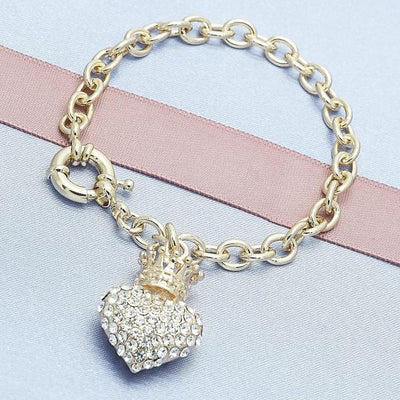 Gold Layered Women Heart Charm Bracelet, with White Crystal, by Folks Jewelry