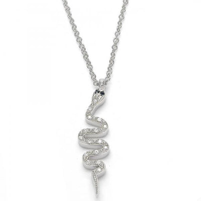 Sterling Silver Women Snake Fancy Necklace, with Black Cubic Zirconia, by Folks Jewelry