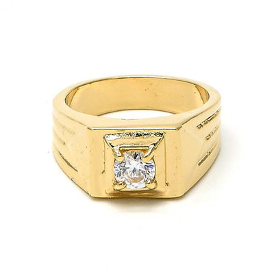 Gold Layered Boys Solitaire Mens Ring, with White Cubic Zirconia, by Folks Jewelry