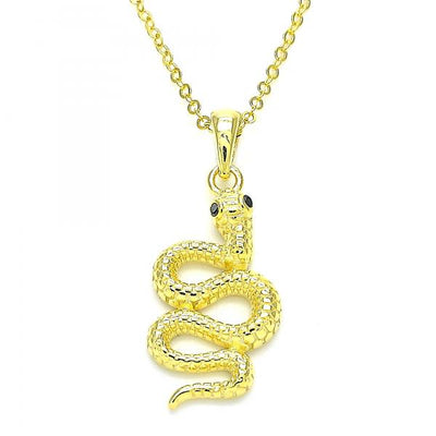 Sterling Silver Women Snake Fancy Necklace, with Black Micro Pave, by Folks Jewelry