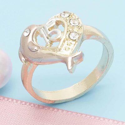 Gold Layered Women Dolphin Multi Stone Ring, with White Crystal, by Folks Jewelry