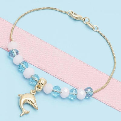 Gold Layered Women Dolphin Charm Bracelet, with Pink Opal, by Folks Jewelry