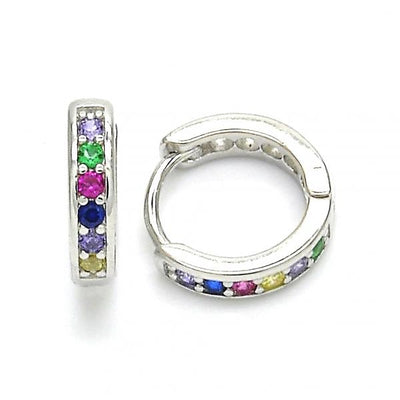 Sterling Silver Boys Huggie Hoop, with Multicolor Cubic Zirconia, by Folks Jewelry